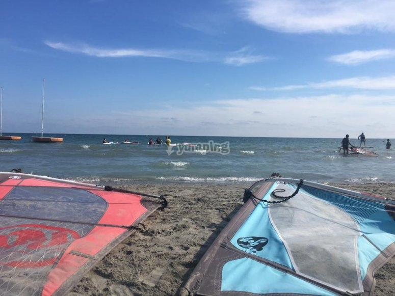 Windsurf sails on the sand