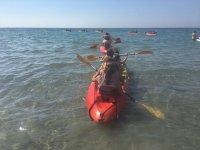 Sailing on a kayak