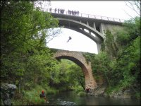 Rappelling from the bridge