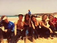 En grupo en la playa