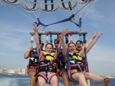 Parasailing in San Antonio's bay
