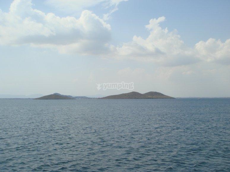 Mar Menor的主要岛屿。