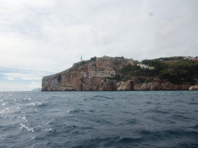 Cabo de la Nao的侧面图。