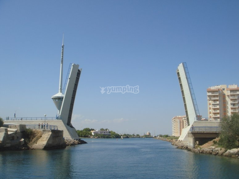 Mar Menor和Levadizo大桥的入口。