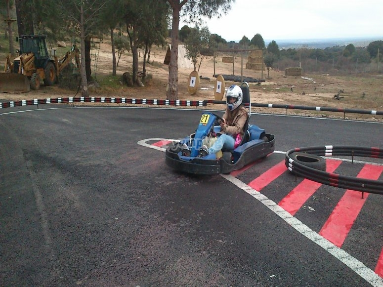 Taking a curve on a kart