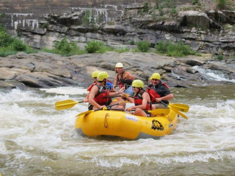 Rafting in the rapids