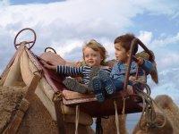 Niños de todas las edades celebran el cumple con los camellos