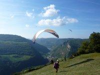 Landing after the paraglide flight in Liri