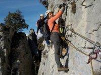 A group practicing via ferrata of Torla