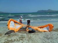 Hinchando el kite