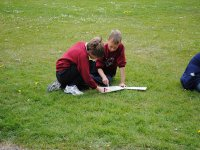 Children learning to orient themselves with the map