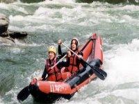 Descending the river in the canoe