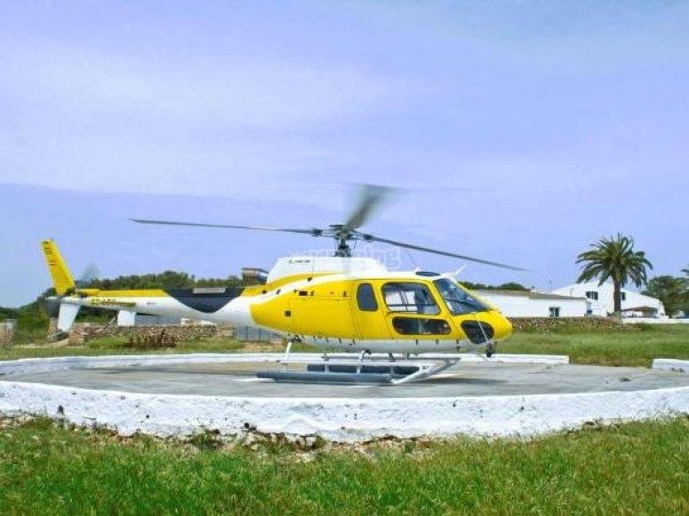 直升机飞行在帕尔马