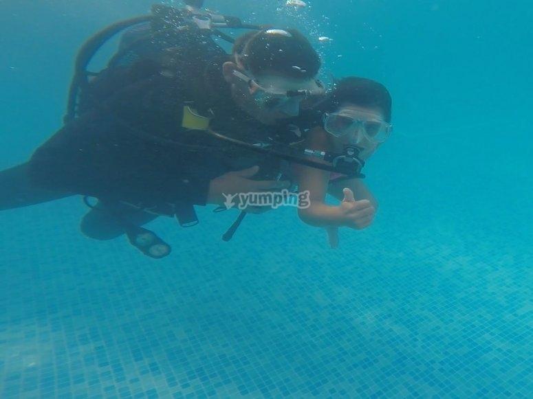 Scuba diving baptism English camp