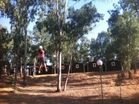Going down on the zipline in the camp