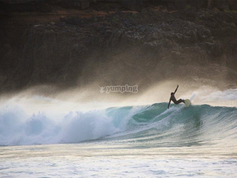 Clase de surf en San Agustín
