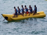 Friends about the banana boat