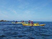 En los kayaks con amigos