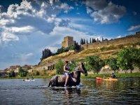 Coincidiendo con el caballo en el rio
