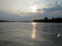 Kayaking sunset in the Barbate reservoir