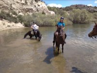 With the horses in the river at the Sierra