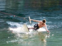 With one hand on the wake board