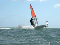 Passing the waves with the windsurf board