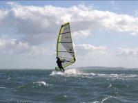 Yellow-edged windsurfing sail