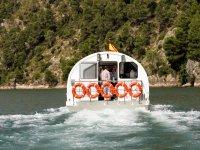 Popa del barco en el rio