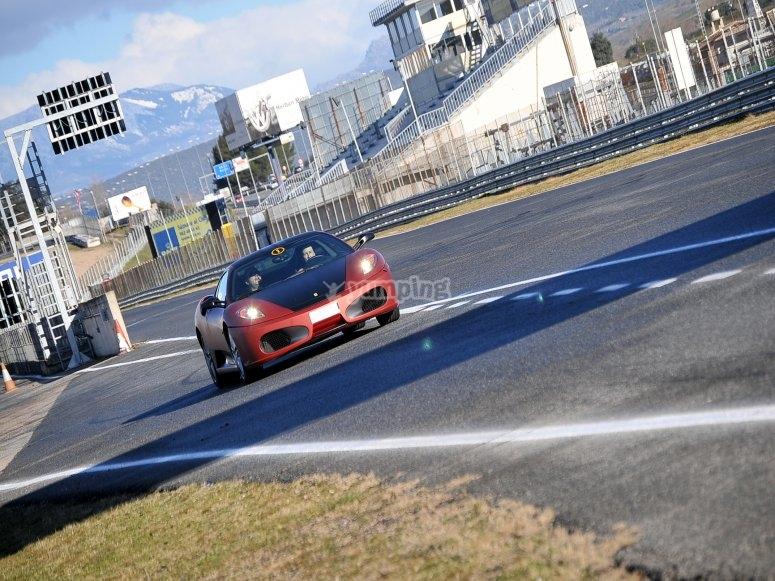 At the controls of the Ferrari