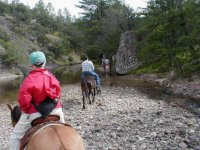 Crossing a river by horse