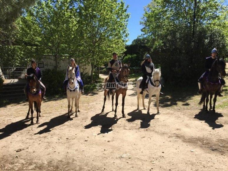 Amigos sobre los caballos en el campo