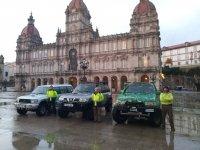 In María Pita Square with SUVs