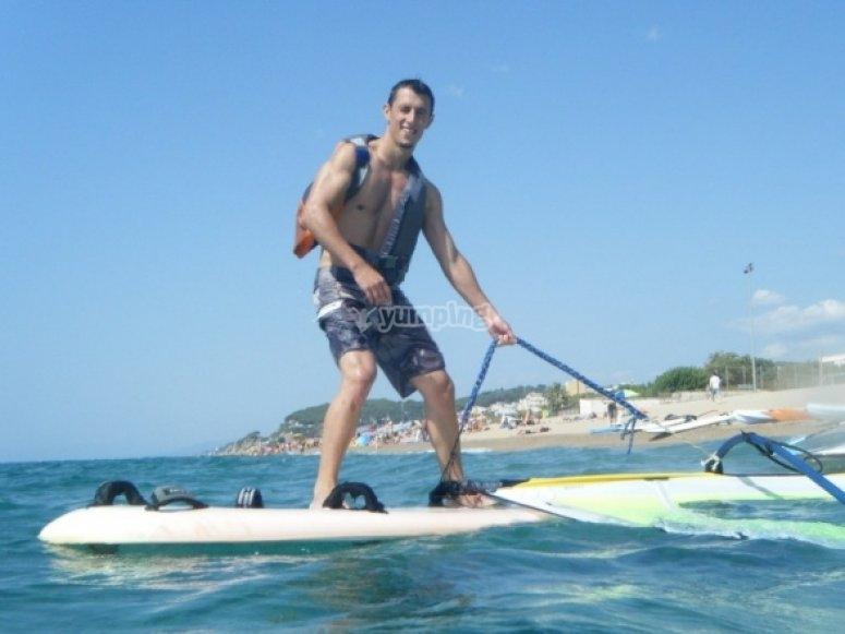 Practicing windsurf