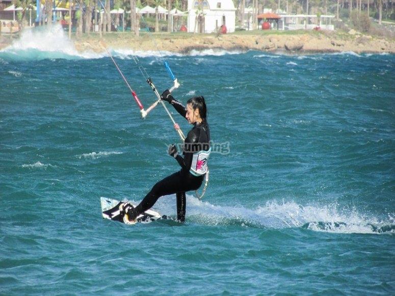 Kiteboarding on the beach