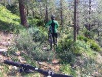 Ciclista che trasporta la bici in piedi a Malaga