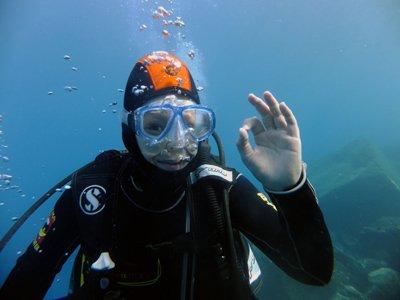 Scuba diving baptism in Los Cancajos