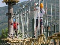 Crossing the rope bridge