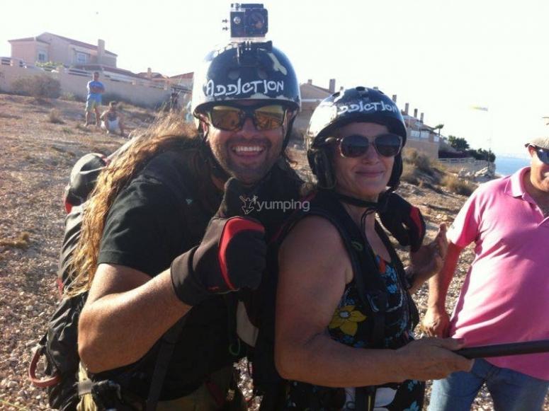 Paraglide pilot and passenger in Santa Pola