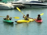 The little ones have a great time with the kayaks