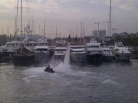 Flyboard on a harbour