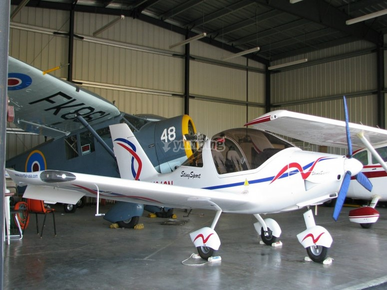 Microlight in the hangar
