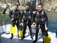 Bautismo de buceo en L'Escala desde barco