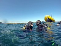 Diving baptism with support boat