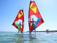 Alumnos de windsurf en Mallorca