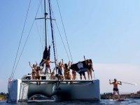 On board the catamaran