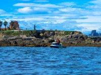 Bordering the coast by jet ski