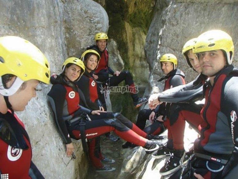Group between the rock walls