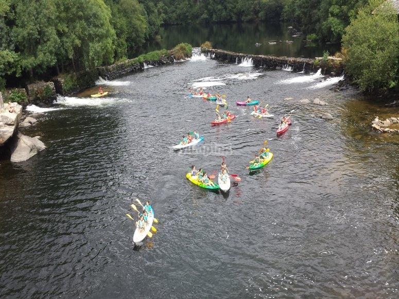 Descenso en piragua para familias río Ulla