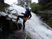 rappel and waterfall
